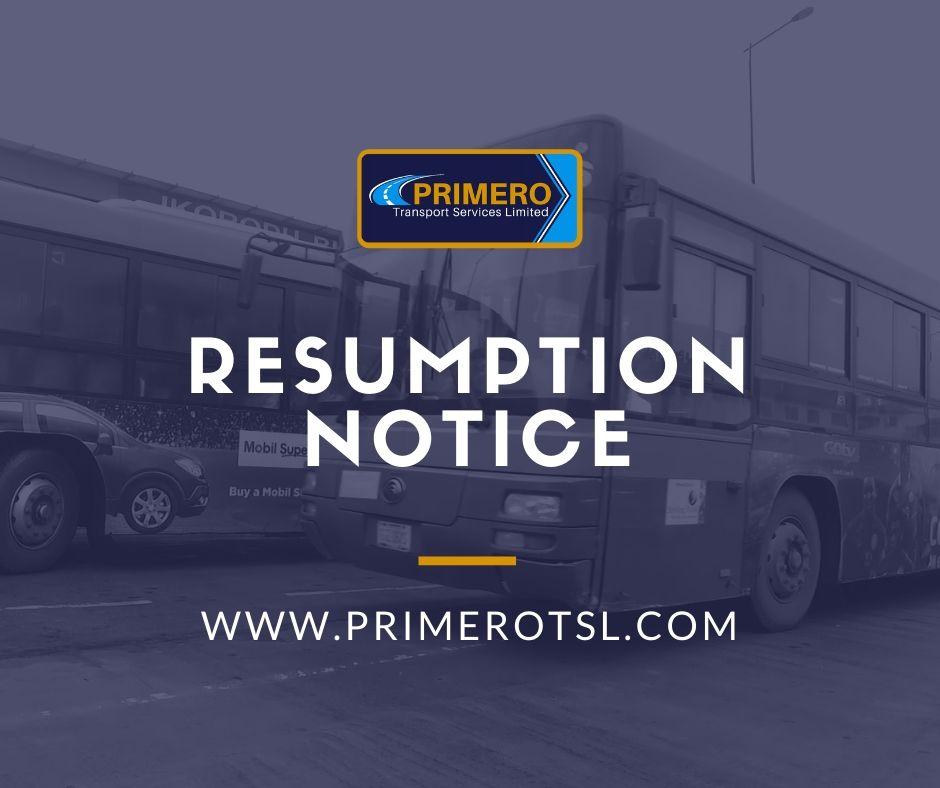 Official: Resumption Notice